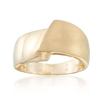 14kt Yellow Gold Satin and Polished Bypass Ring, , default