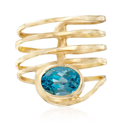 3.00 Carat Blue Topaz Spiral Ring in 14kt Yellow Gold, , default