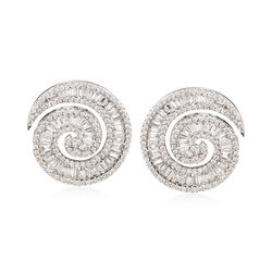 2.75 ct. t.w. Diamond Swirl Earrings in 18kt White Gold, , default