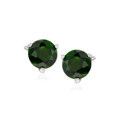 1.60 ct. t.w. Chrome Diopside Stud Earrings in 14kt White Gold, , default