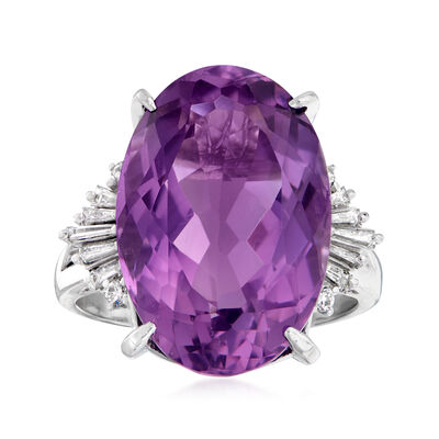 C. 2000 Vintage 11.40 Carat Amethyst and .31 ct. t.w. Diamond Ring in Platinum