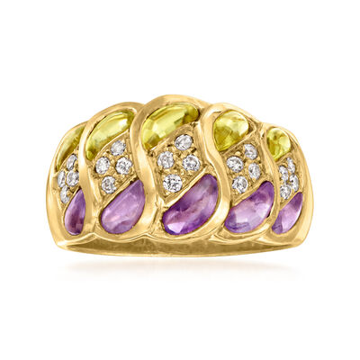 C. 1990 Vintage 1.00 ct. t.w. Amethyst and 1.00 ct. t.w. Peridot Ring with .30 ct. t.w. Diamonds in 18kt Yellow Gold