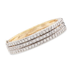 C. 1980 Vintage Hammerman Brothers 7.20 ct. t.w. Diamond Three-Row Bangle Bracelet in 14kt Gold, , default