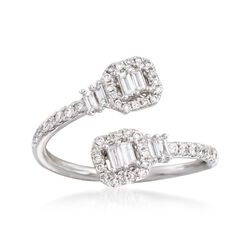 .50 ct. t.w. Diamond Bypass Ring in 14kt White Gold. Size 6, , default
