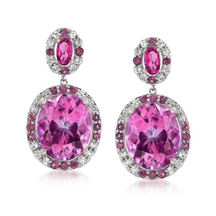 14.30 ct. t.w. Pink and White Topaz Drop Earrings with .60 ct. t.w. Rhodolite Garnets in Sterling, , default