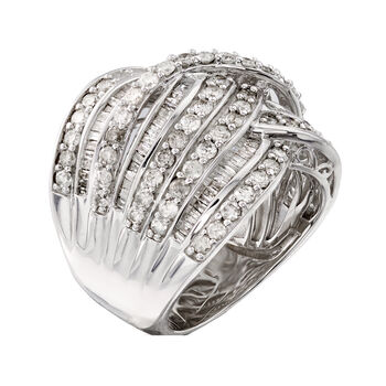 3.00 ct. t.w. Diamond Wave Ring in Sterling Silver