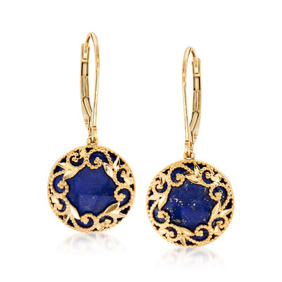 Italian Lapis Filigree Earrings in 14kt Yellow Gold, , default