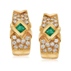 C. 1980 Vintage .50 ct. t.w. Emerald and 1.50 ct. t.w. Diamond Clip-On Earrings in 18kt Yellow Gold, , default