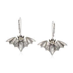 Sterling Silver Bat Drop Earrings, , default