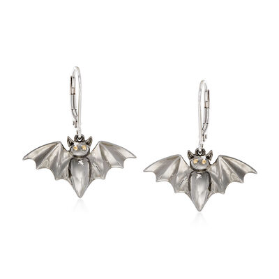 Sterling Silver Bat Drop Earrings, , default