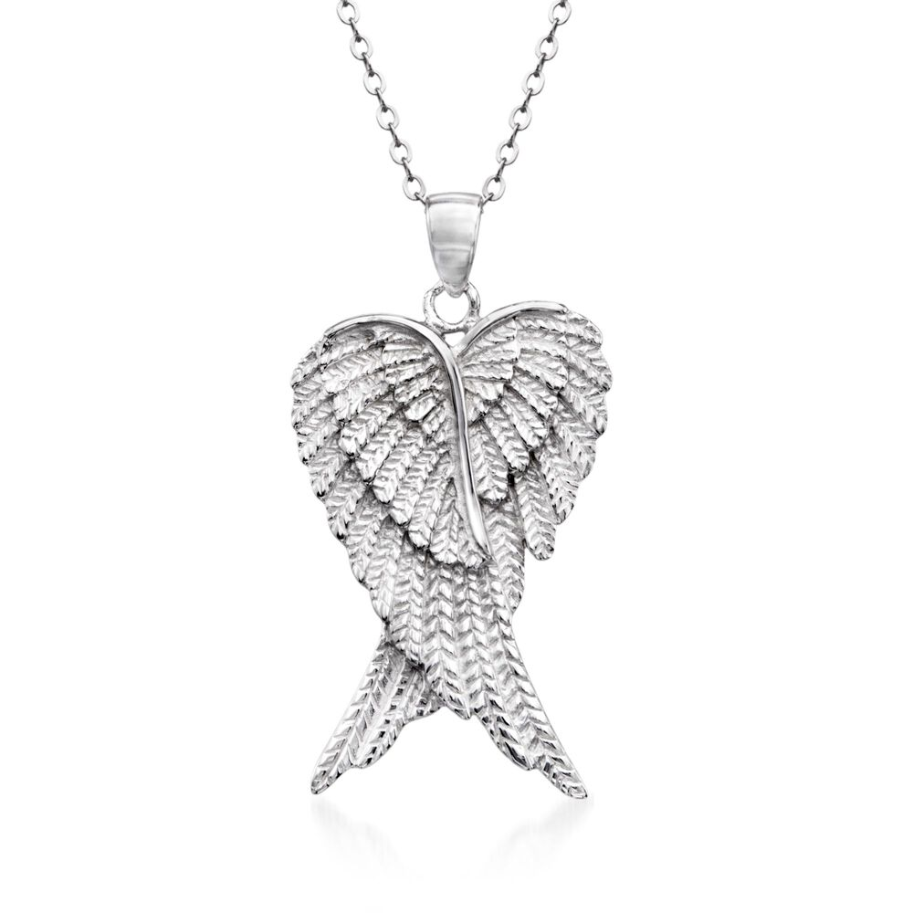 Sterling silver angel wing pendant necklace 18 ross simons sterling silver angel wing pendant necklace 18quot default aloadofball Images
