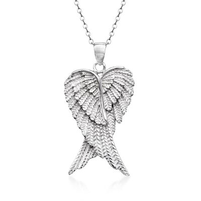 Sterling Silver Angel Wing Pendant Necklace, , default