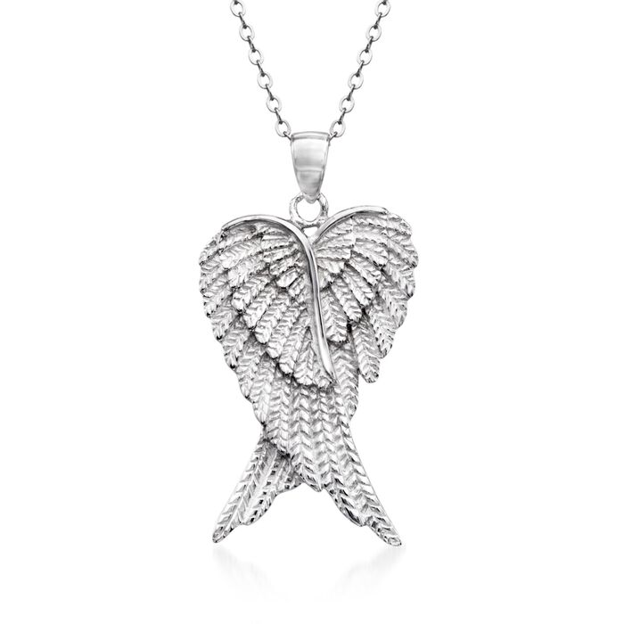 """Sterling Silver Angel Wing Pendant Necklace. 18"""", , default"""