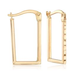 "14kt Yellow Gold Rectangle Hoop Earrings. 3/4"", , default"
