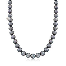 """Mikimoto 8.2-10.9mm A+ South Sea Pearl Necklace With Diamond Accent and 18kt White Gold. 17.5"""", , default"""