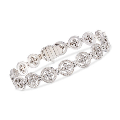 C. 1980 Vintage .85 ct. t.w. Diamond Multi-Circle Cross Bracelet in 18kt White Gold, , default