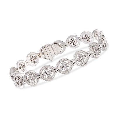 C. 1980 Vintage .85 ct. t.w. Diamond Multi-Circle Cross Bracelet in 18kt White Gold, , default