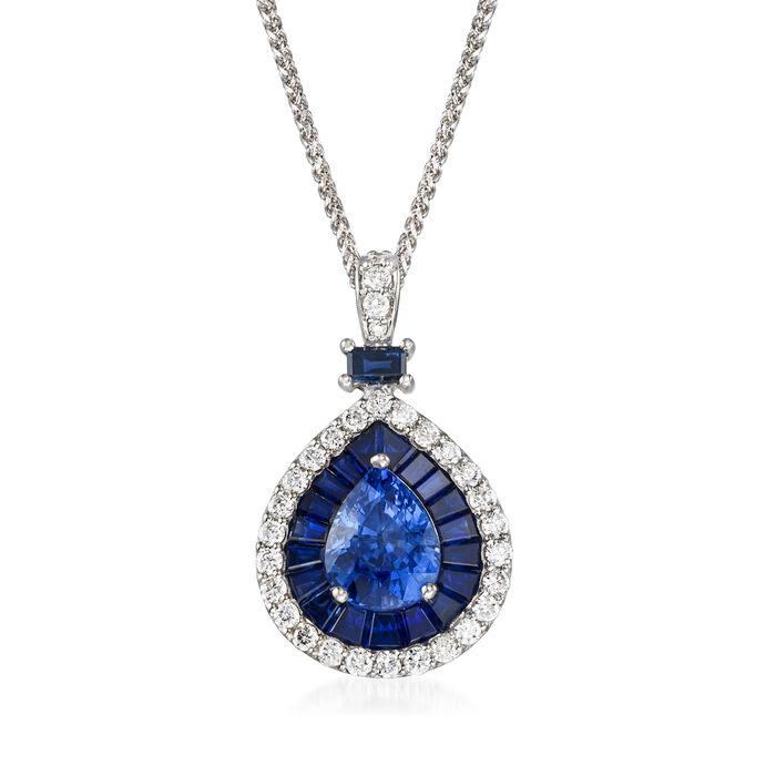 "5.01 ct. t.w. Ceylon Sapphire and .60 ct. t.w. Diamond Pendant Necklace in 14kt White Gold. 18"""