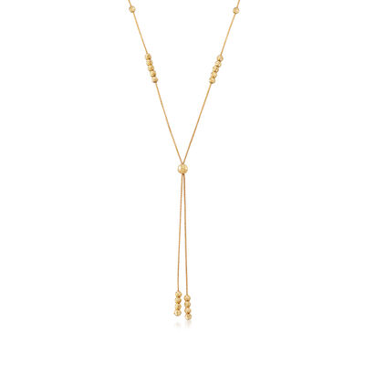 Italian 14kt Yellow Gold 6mm Diamond-Cut Beaded Station Necklace, , default