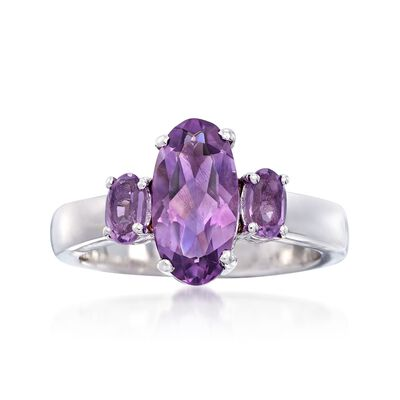 2.30 ct. t.w. Oval Amethyst Three-Stone Ring in Sterling Silver, , default