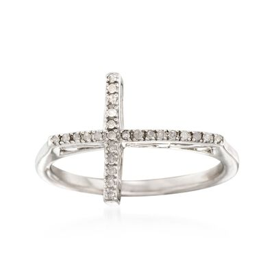 .10 ct. t.w. Diamond Sideways Cross Ring in Sterling Silver, , default