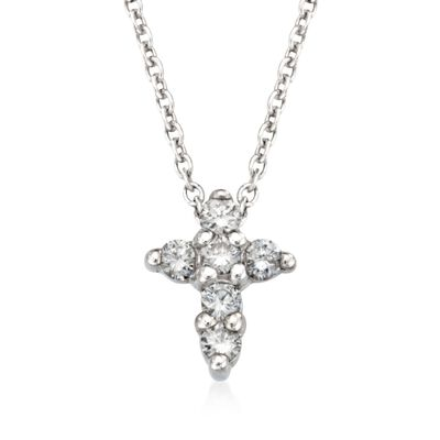 Roberto Coin .11 ct. t.w. Diamond Cross Necklace in 18kt White Gold, , default