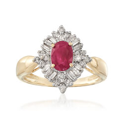 C. 1980 Vintage .75 Carat Ruby and .50 ct. t.w. Diamond Ring in 14kt Yellow Gold, , default