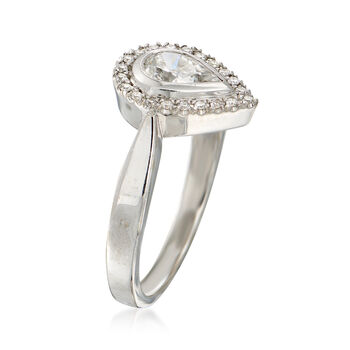 C. 1980 Vintage .57 ct. t.w. Pear-Shaped Diamond Halo Ring in 18kt White Gold. Size 7, , default