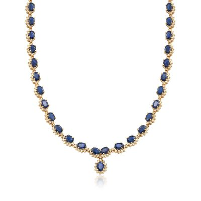 C. 1990 Vintage 39.00 ct. t.w. Sapphire and 5.00 ct. t.w. Diamond Necklace in 14kt Yellow Gold, , default