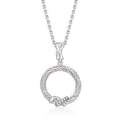 "Phillip Gavriel ""Italian Cable"" Sterling Silver Open-Circle Pendant Necklace, , default"