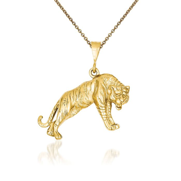 "14kt Yellow Gold Tiger Pendant Necklace. 18"", , default"