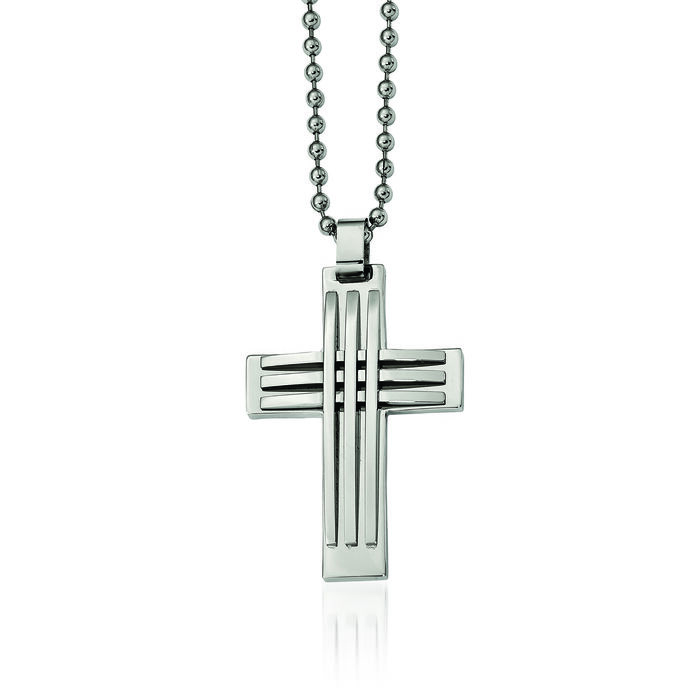 "Men's Stainless Steel Polished Cross Pendant Necklace. 22"", , default"