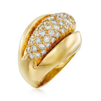 C. 1980 Vintage 1.75 ct. t.w. Pave Diamond Dome Ring in 18kt Yellow Gold. Size 6.5, , default