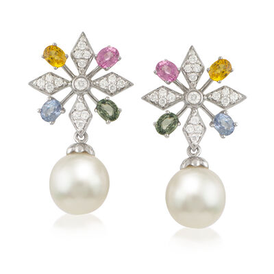 11-12mm Cultured South Sea Pearl, 2.80 ct. t.w. Multicolored Sapphire and .34 ct. t.w. Diamond Drop Earrings in 18kt White Gold