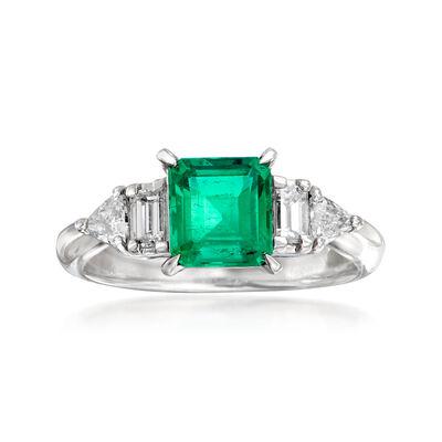C. 2000 Vintage 1.04 Carat Emerald and .41 ct. t.w. Diamond Ring in Platinum, , default