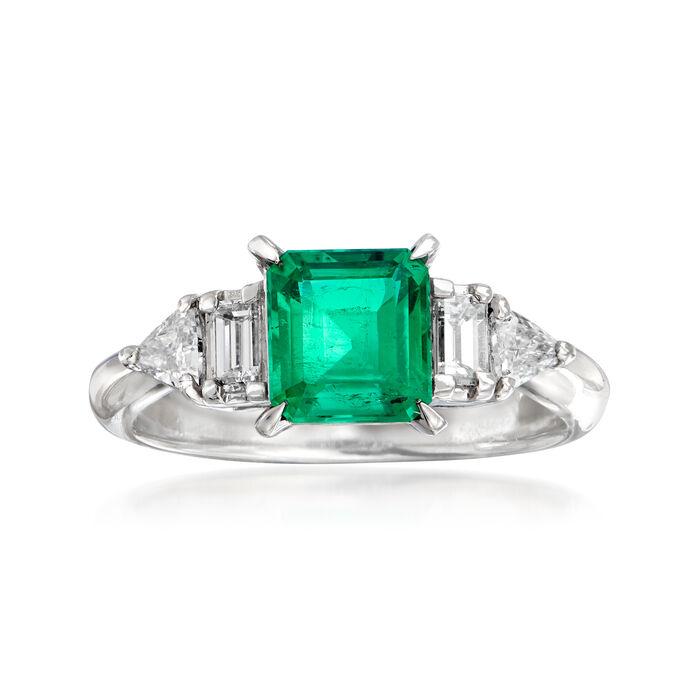 C. 2000 Vintage 1.04 Carat Emerald and .41 ct. t.w. Diamond Ring in Platinum. Size 6, , default