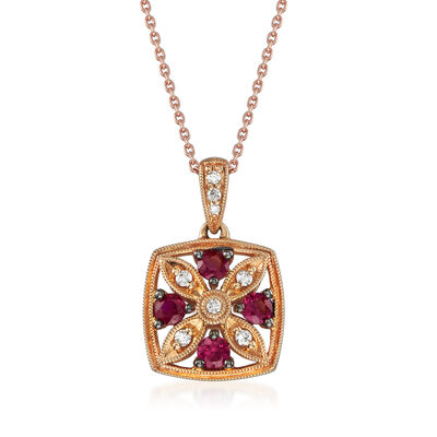 C. 2000 Vintage .37 ct. t.w. Ruby and .10 ct. t.w. Diamond Floral Pendant Necklace in 14kt Rose Gold, , default