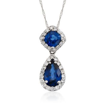 """2.20 Carat Sapphire and .48 ct. t.w. Diamond Pendant Necklace in 18kt White Gold. 16"""", , default"""