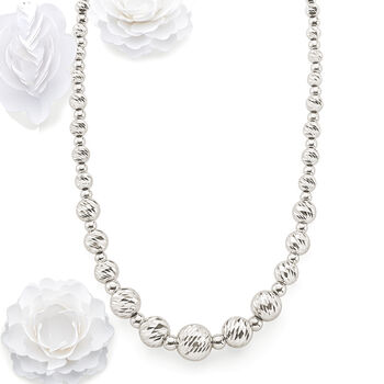 Italian Sterling Silver Diamond-Cut Bead Necklace, , default