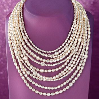 4-9mm Cultured Pearl Multi-Strand Necklace with Sterling Silver, , default