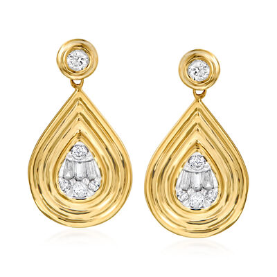 .32 ct. t.w. Diamond Teardrop Earrings in 14kt Yellow Gold