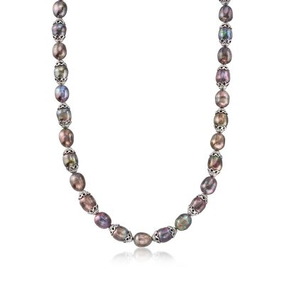 9.5-10.5mm Black Cultured Pearl Necklace in Sterling Silver, , default