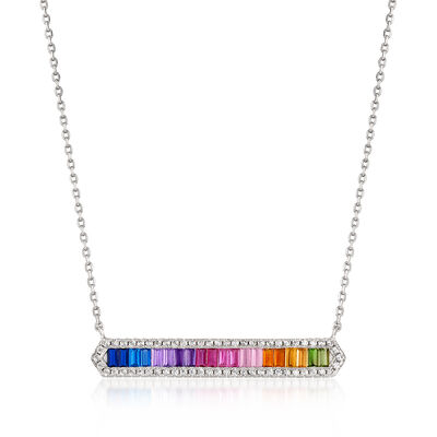 1.28 ct. t.w. Multicolored CZ Necklace in Sterling Silver, , default