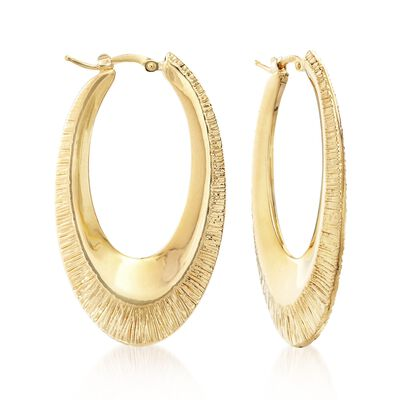 Italian 18kt Yellow Gold Textured and Polished Oval Hoop Earrings, , default