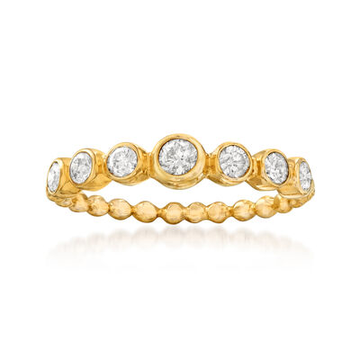 .50 ct. t.w. Bezel-Set Diamond and Beaded Ring in 14kt Yellow Gold, , default