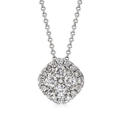 C. 1990 Vintage .75 ct. t.w. Diamond Cluster Necklace in 14kt White Gold, , default