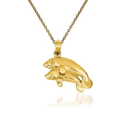 14kt Yellow Gold Manatee Pendant Necklace, , default