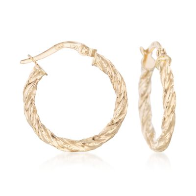 Italian 14kt Yellow Gold Textured and Twisted Hoop Earrings, , default