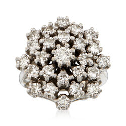 C. 1970 Vintage 1.75 ct. t.w. Diamond Cluster Ring in 14kt White Gold. Size 5.25, , default
