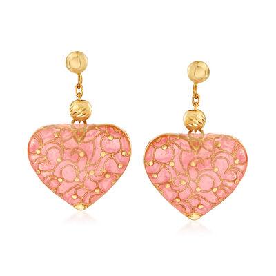 Italian Pink Enamel Heart Drop Earrings in 18kt Yellow Gold, , default
